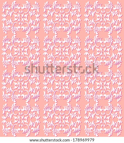 Feminine peach colored filigree background pattern. Fresh new look for Spring! - stock vector
