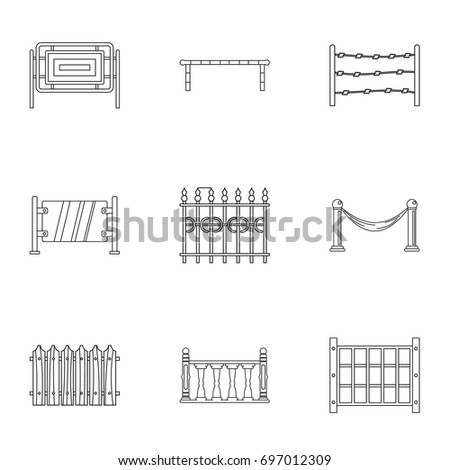 Fence icons set. Outline set of 9 fence vector icons for web isolated on white background