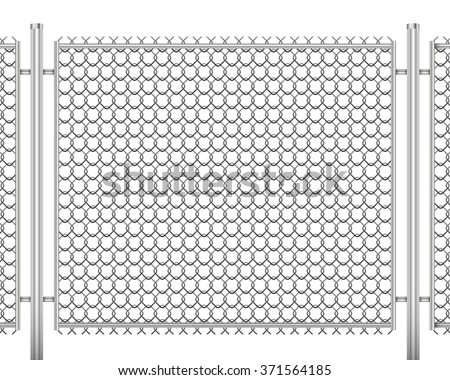 fence made of wire mesh vector illustration isolated on white background - stock vector