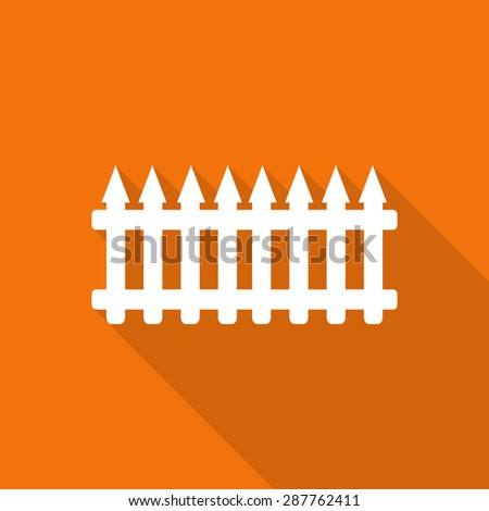 fench flat icon with long shadow. - stock vector