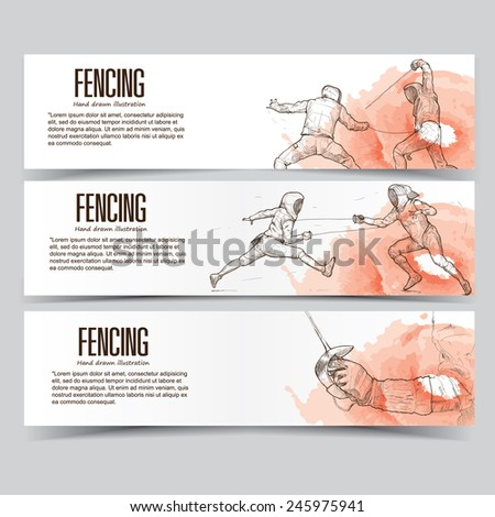 fencing banners. - stock vector