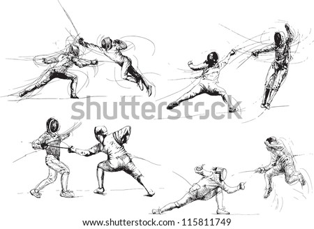 Fencing. Collection of illustrations isolated on white background. - stock vector