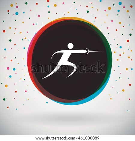 Fencing - Colorful icon and sports background
