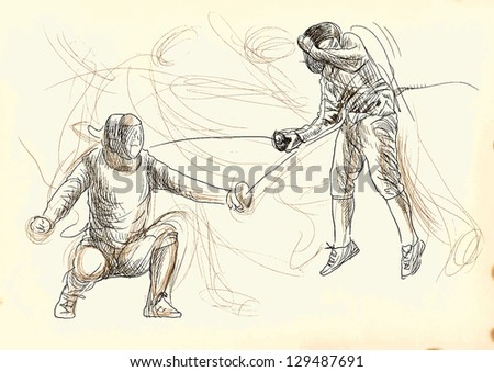 Fencing duel. /// A hand drawn illustration converted into vector. Vector is editable in 5 layers. - stock vector