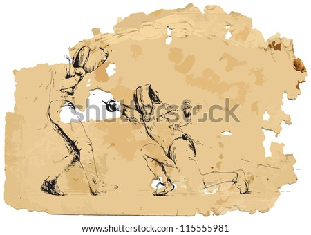 Fencing duel. A vector image is composed of two editable layers - background with torn paper and sketch of swords. - stock vector
