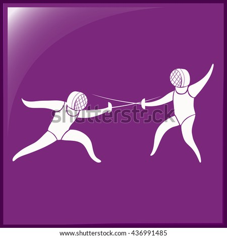 Fencing icon on purple background illustration