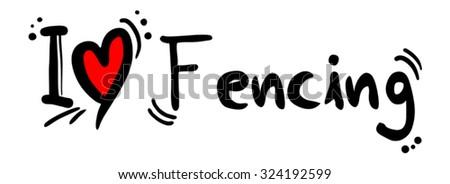 Fencing love - stock vector