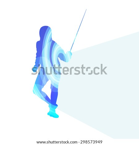 Fencing man silhouette vector background colorful concept made of transparent curved shapes - stock vector