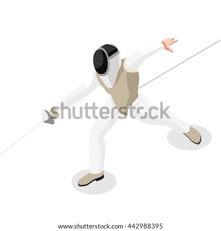 Fencing Player Fencer Swordsman Athletes Sportsman Games Brasil. 3D Isometric Athlete. Sporting Championship People Competition. Sport Infographic Fencing Player olympics Vector illustration