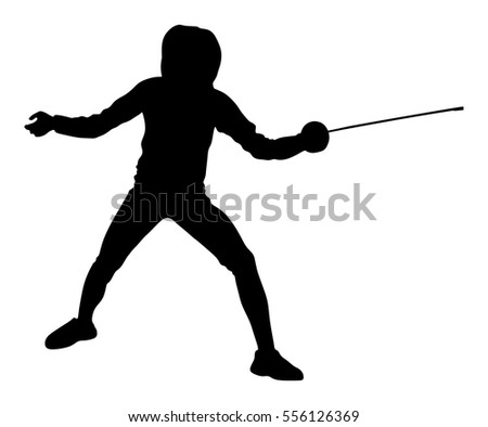 Fencing player portrait vector silhouette illustration isolated on white background. Fencing competition event. Sword fighting. Swordplay training black shadow. Quick move game. Athlete man art figure