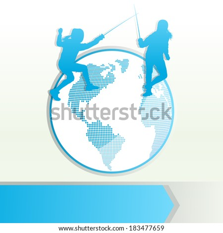 Fencing sport silhouette vector background concept with globe
