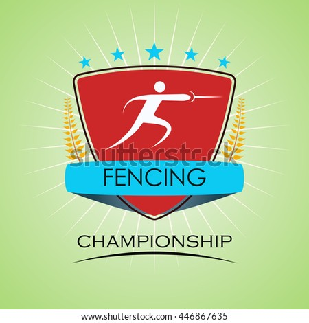 Fencing - Winner Golden Laurel Seal with Golden Ribbon - Layered EPS 10 Vector - stock vector
