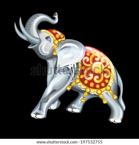 Feng Shui talismans: elephant figurine. - stock vector