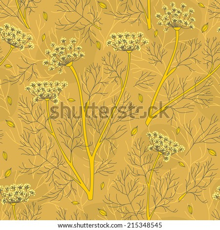 Fennel Plants And Seeds Seamless Pattern - stock vector