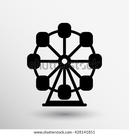 Ferris carousel wheel icon circle park vector. - stock vector