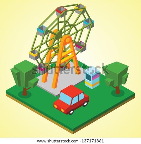 Ferris wheel - stock vector