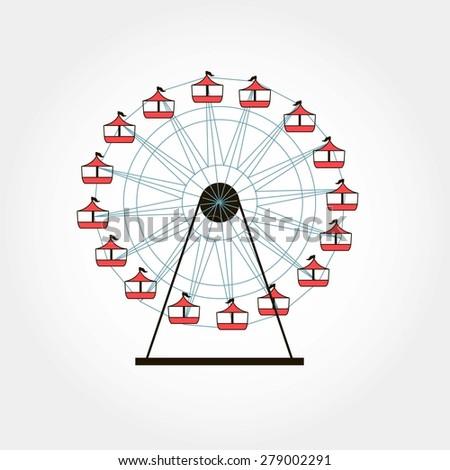 Ferris wheel, fair concept, vector childhood illustration - stock vector