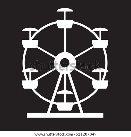 Ferris Wheel Icon Silhouette. Entertainment Round Attraction. Vector Illustration EPS10
