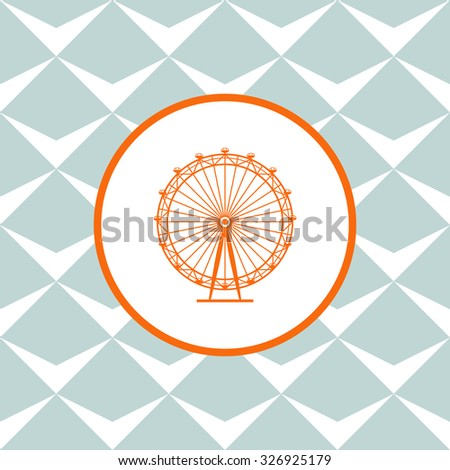 Ferris Wheel vector icon. Seamless background with geometric design. - stock vector