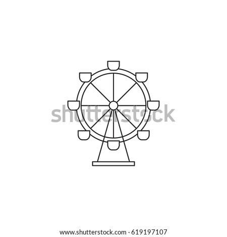 Ferris Wheel Vector Thin Line Icon Stock Vector 619197107 ...