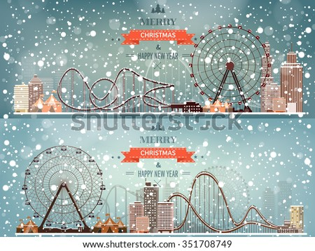Ferris wheel. Winter carnival. Christmas, new year. Park with snow. Roller coaster. - stock vector