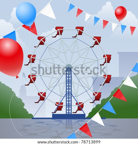 Ferris wheel with decorative pennants and balloons - stock vector