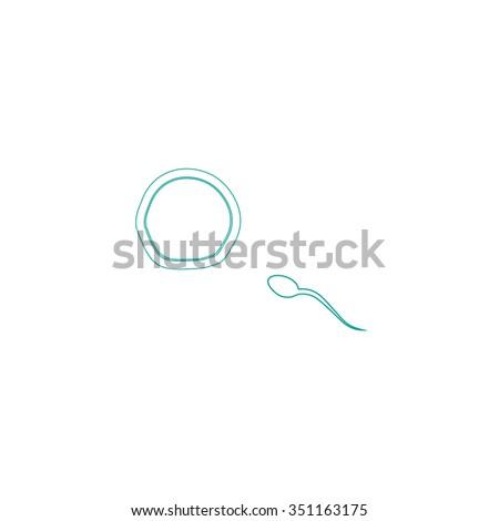 fertilization Outline vector icon on white. Line symbol pictogram  - stock vector