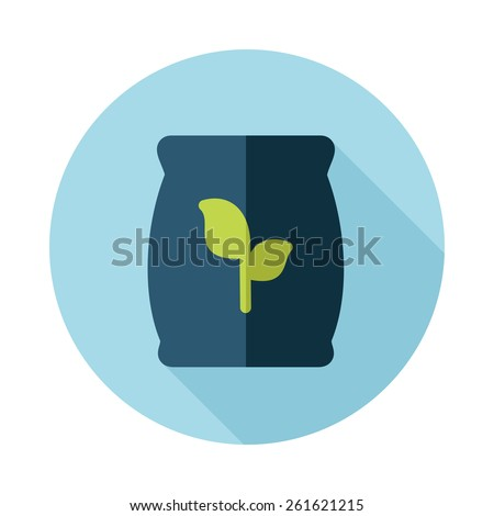Fertilizer flat icon with long shadow Present By Green Nitrogen, Potassium, Phosphorus and Leaf Sack - stock vector