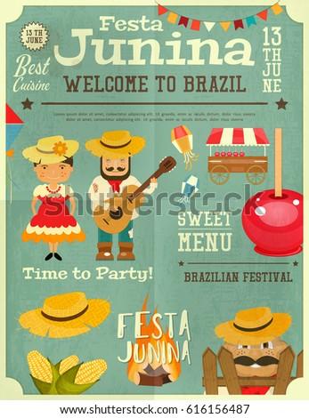 Festa Junina Brazil June Festival Retro Stock Vector ...