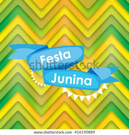 Festa Junina Holiday Background. Traditional Brazil June Festival Party. Midsummer Holiday. Vector illustration with Ribbon and Flags. EPS10 - stock vector
