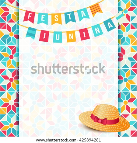 Festa Junina illustration - traditional Brazil june festival party - Midsummer holiday. Carnival background - two strings of flags, words Festa Junina, thatched hat and abstract festive background.