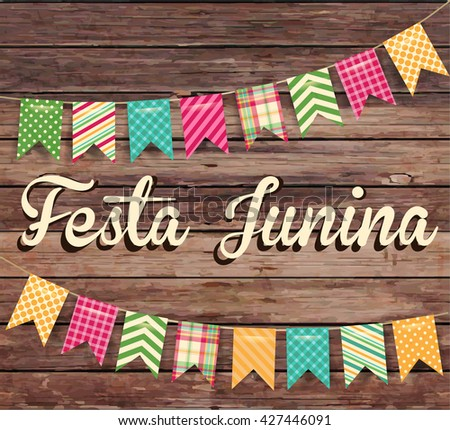 Festa Junina illustration - traditional Brazil June festival party. Vector illustration. - stock vector