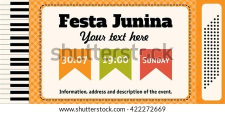 Festa Junina illustration - traditional Brazil June festival party. Vector illustration. Accordion. - stock vector