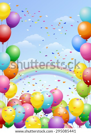 Festival background with colorful balloons, rainbows and scattered confetti. Celebration. - stock vector