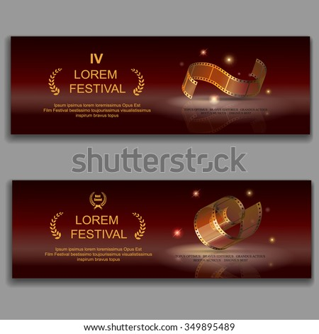 festival movie horizontal banners,  camera film 35 mm roll gold,  Slide films frame,  vector illustration - stock vector