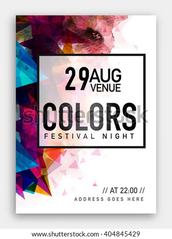 Festival Night Party Template, Dance Party Flyer, Musical Party Banner or Club Invitation with colorful abstract design. - stock vector