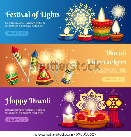Festival of lights diwali horizontal banners with firecrackers and candles realistic isolated vector illustration