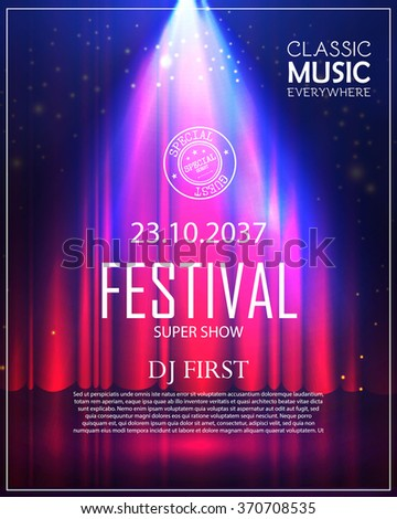 Festival Poster with Spotlight. Concert, Party, Theater, Dance & Show Design. Empty Scene with Stage Curtain. Poster Template with Light Effect. Vector illustration - stock vector