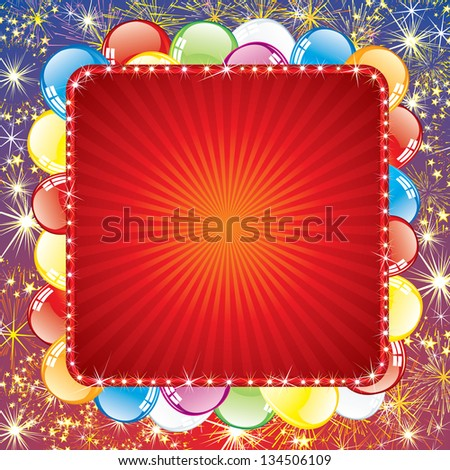 Festive Background with Balloons and Firework. Vector with Space for Text - stock vector