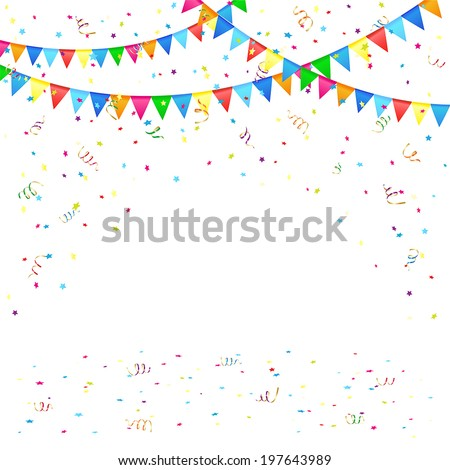 Festive background with colored pennants and confetti, illustration. - stock vector