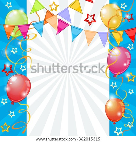 Festive background with colorful balloons and buntings - stock vector