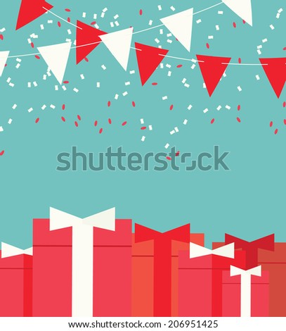 Festive background with flags, confetti and gifts, vector illustration - stock vector