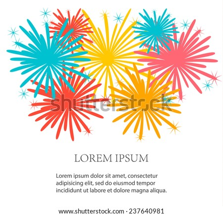 Festive background with holiday fireworks, vector illustration - stock vector