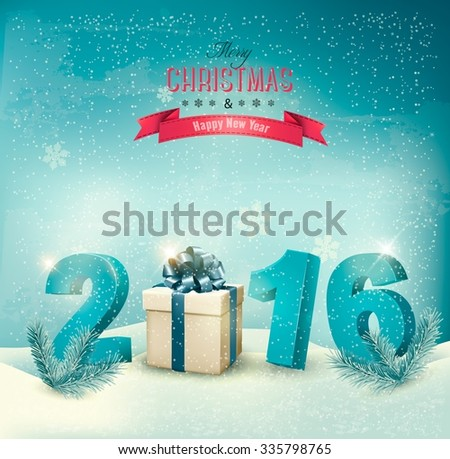 Festive background with 2016 numbers and a gift box. Vector. - stock vector
