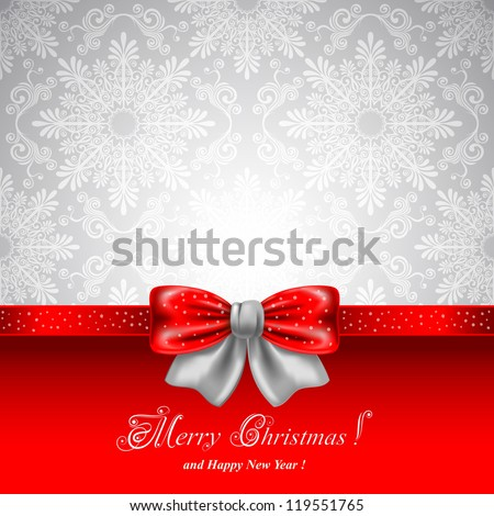 Festive background with red bows and copy space - stock vector