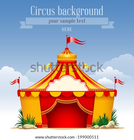 Festive background with striped tent of vagrant circus and flags. Vector illustration.