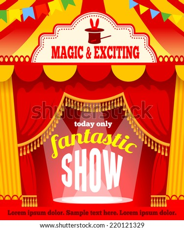 Festive background with tent of vagrant circus and spotlight. Vector illustration.  - stock vector