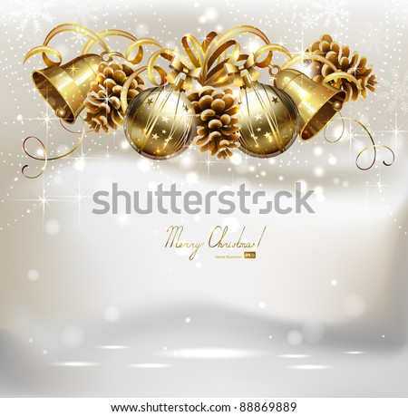 Festive balls,  bells and cones  on the Christmas background - stock vector
