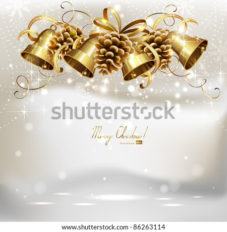 festive  bells and cones  on the Christmas background - stock vector