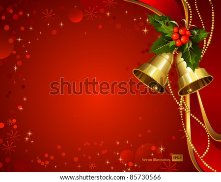 festive  bells  with Christmas holly - stock vector